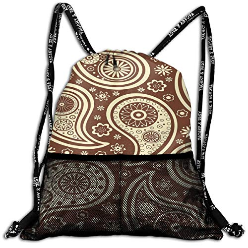 Drawstring Backpacks Bags,Ethnic Eastern Paisley With Abstract Little Blossoms Bicolor Nature Inspired,5 Liter Capacity,Adjustable