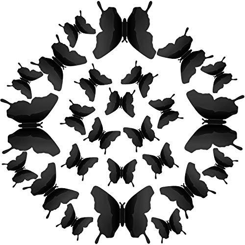 Espejos mariposas 3D 48 unidades negras