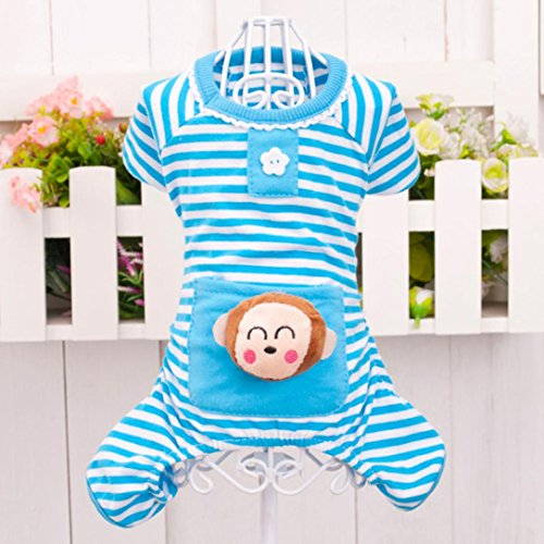 Picture of Tuscom Small Pet Dog Stripes Pajamas, Dog Jumpsuits Coat Clothes (XS, Blue)