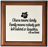 3dRose LLC ft_163985_1 Framed Tile, 8 by 8-Inch, Ohana Means Family