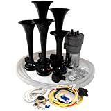 Dixie Air Horn Black - Dixieland Premium Full 12 Note Version with Installation Wire Kit and Button