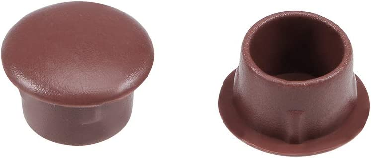 uxcell Shelf Peg Hole Plugs 10mm Dia Brown Plastic Tube Cover for Nail Cabinet Button Bracket Cupboard Bookshelf Bookcase Adjustable Shelf Closet, 50Pcs