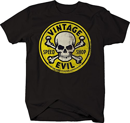 Bold Yellow T-shirt - Vintage Evil Speed Shop Skull Crossbones Yellow Racing Hotrod Tshirt - 4XL
