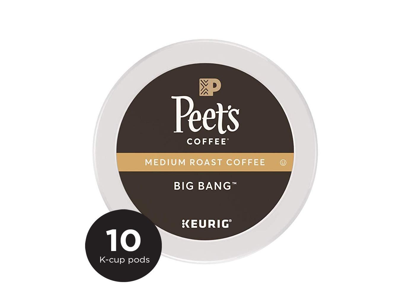 Peet's Coffee K Cup Pack Big Bang, Medium Roast Coffee, 10 ct