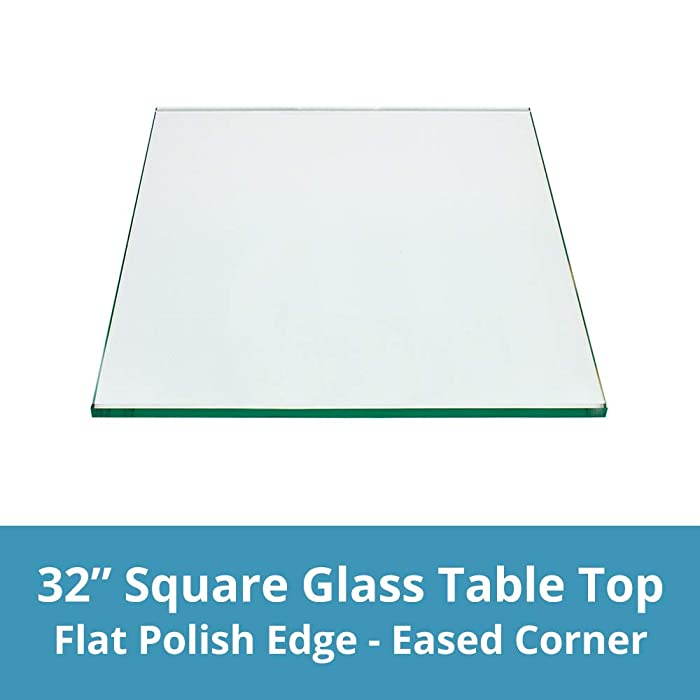 "Square Glass Table Top 32 inches Custom Annealed Clear Tempered, 1/4"" Thick Glass With Flat Polished Edge For Dining Table, Coffee Table, Home & Office Use by TroySys"