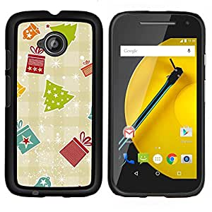 Stuss Case / Funda Carcasa protectora - Regalo Papel Plaid Invierno Feliz - Motorola Moto E ( 2nd Generation )