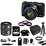 Canon EOS M3 Mirrorless Camera with EF-M 18-55mm Lens (Black) + Sony 64GB SD Card + 52mm Filter Kit + DSLR Case and Deluxe Accessory Bundle