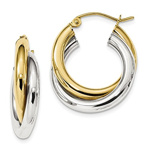 10k Yellow and White Gold Two-tone Polished Double Tube Hoop Earrings Length 23.77mm ()