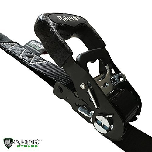 RHINO USA Ratchet Straps Motorcycle Tie Down Kit, 5,208 Break Strength - Includes (2) Heavy Duty 1.6'' x 8' Rachet Tiedowns with Padded Handles & Coated Chromoly S Hooks + (2) Soft Loop Tie-Downs… by Rhino USA (Image #8)