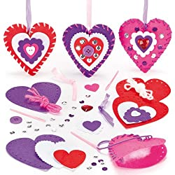 Heart Decoration Sewing Kits for Children to Decorate for Mothers Day or Valentines (Pack of 3)