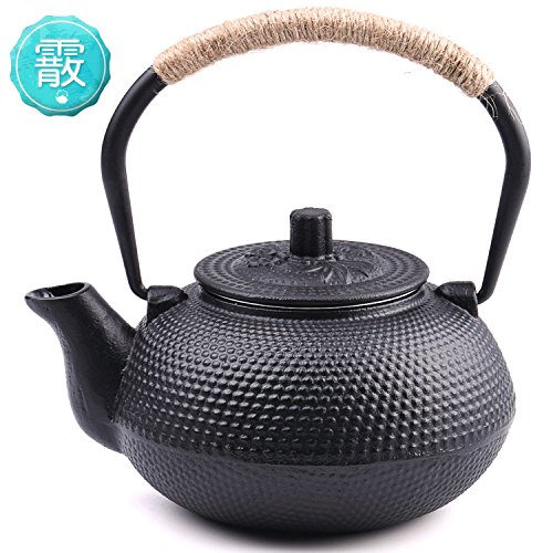 se Tetsubin Tea Kettle Cast Iron Teapot with Stainless Steel Infuser Black 22 oz (Black Cast Iron Teapot)