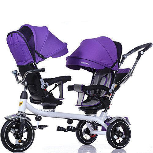 OLizee Baby Kids Toddler Twins Double Seats Tricycle Stroller Ride-On Trike(Purple) (Tricycle Double Seat)