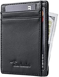 RFID Front Pocket Minimalist Slim Wallet Genuine Leather...