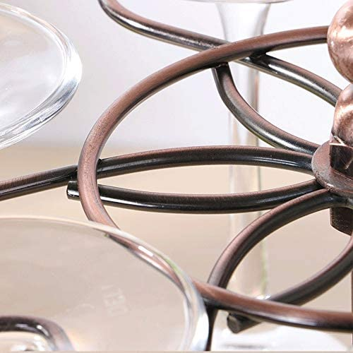 ゴブレットホルダー 6フックシルバークロームアイアンワイングラスホルダースタンド脚付きグラス乾燥棚 ワインラック (Color : Bronze, Size : 31*18.5cm)