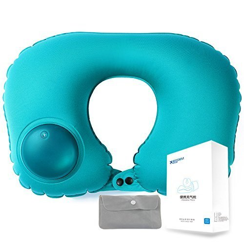 Inflatable Travel Pillow with Push button|neck枕by 40000 km|u-shaped|milk fiber|with Carryingバッグ グリーン SW1224  グリーン B078SMZLCN