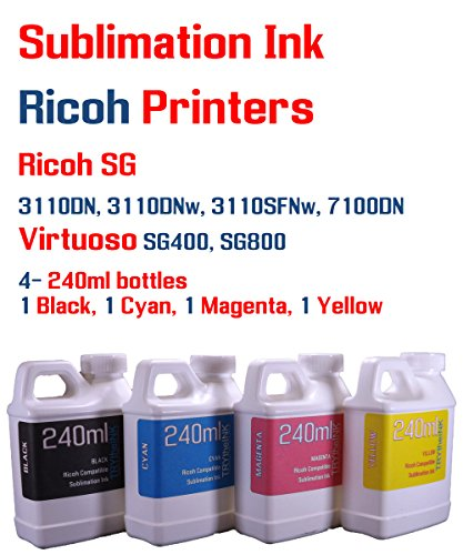 Sublimation Ink 4 color 240ml bottles- SG 3110DN 3110DNw 3110SFNw 7100DN Virtuoso SG400 SG800 by Try The Ink