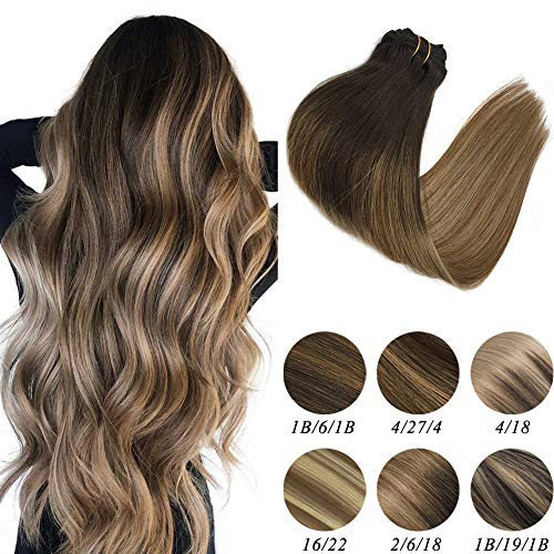 Labeh Hair Extensions Clip In Human Hair Dark Brown Fading to Light Brown Ash Blonde Colored Balayage Ombre Hair Extensions Clip Ins 7pcs 120g 18inch