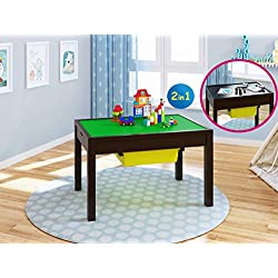 UTEX 2-in-1 Kid Activity Table with Storage Compartment and Two Storage Bins, Play Table for Kids,Boys,Girls, Espresso