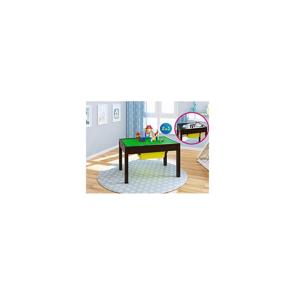 UTEX 2-in 1 Kids Large Table with Storage for Older Kids Construction Table for Kids,Boys,Girls White