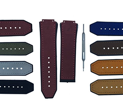 17x26mm Watch Band Strap for Big Bang Matte Calf Leather - Free Spring Bar Tool (Purple) ()