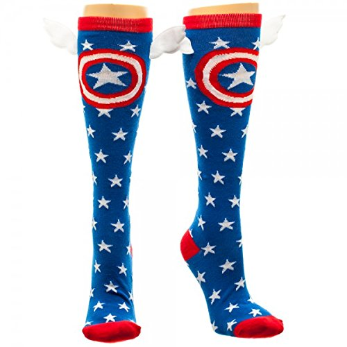 Captain America Shield and Stars Knee High Socks with Wings multicolor one size Sock Size: 9-11 / Shoe Size 5-10 -