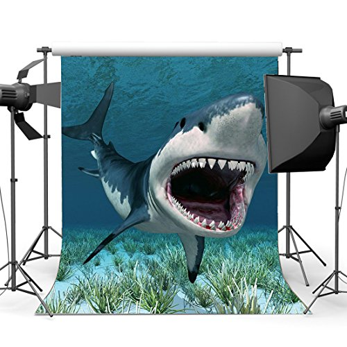 Gladbuy Vinyl 3X5FT Cartoon Shark Backdrop Underwater World Green Grass Aquarium Ocean Sailing Photography Background for Baby Shower Girls Boys Happy Birthday Party Décor Photo Studio Props KX132