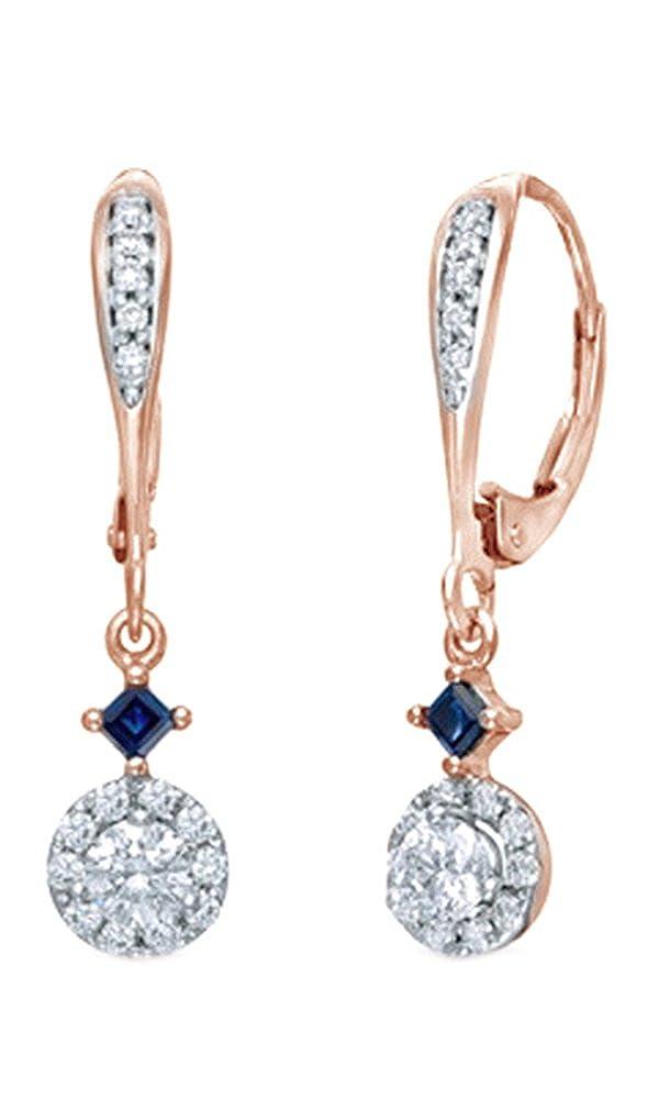 Weißszlig; natürlicher Diamant & Prinzessin Simuliert Blau Saphir Ohrringe in Tropfenform 14 ct 585 Weißszlig; Gold massiv (0,5 Karat) 14 Karat RotGold
