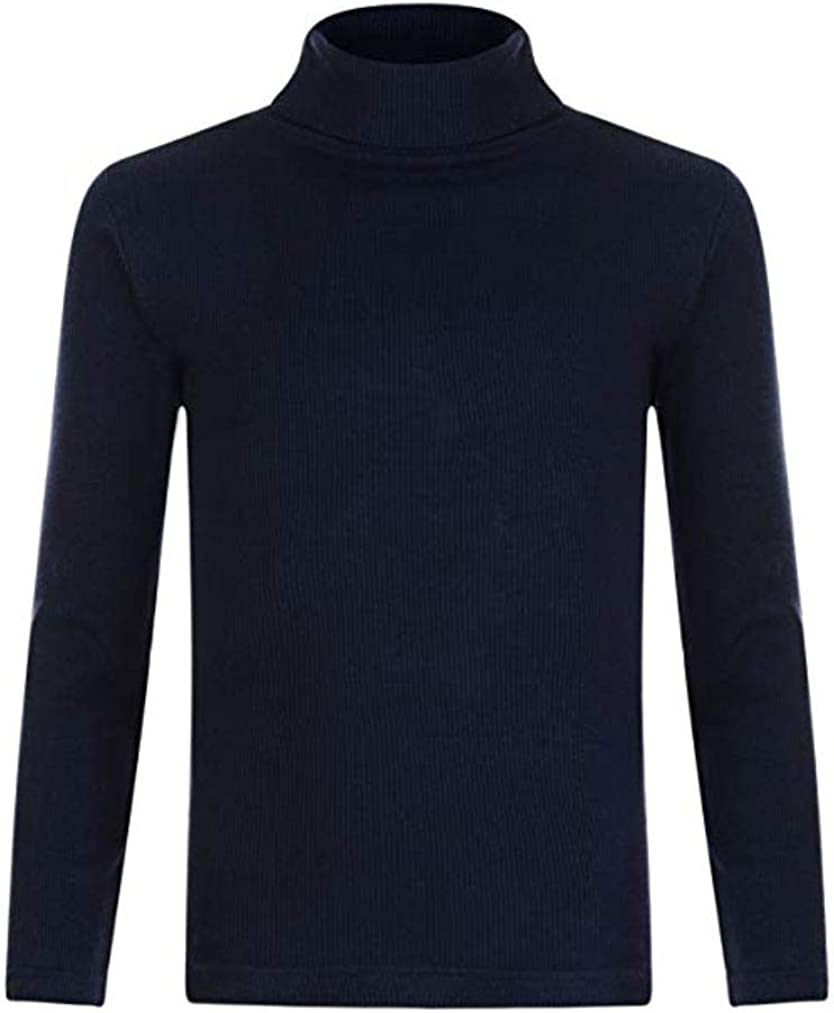 2 X Black Polo Neck Cotton Long Sleeve Tops Girl Boy 2 pack Roll