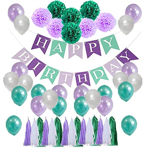P+Co Chic Birthday Party 45 PCS Mermaid Under The Sea Themed Set: 1pc Happy Birthday Banner + 15pcs Tassels + 21pcs Balloons + 8pcs Paper Pom Pom - Party Decorations -
