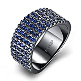 Men Blue Crystal Wedding Ring Black Tone Hip Hop Fashion Jewelry