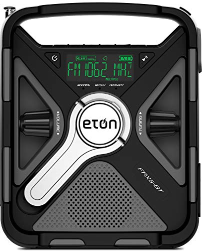 Eton Emergency Weather Radio, the Ultimate Outdoor Radio with Bluetooth, 2000 mAh Rechargeable Battery, USB Port for Smartphone Charging, High Efficiency Solar Panel Charging and LED Flashlight FRX5BT