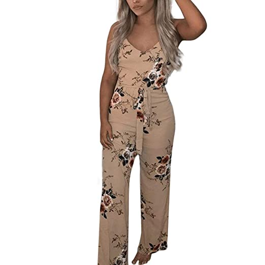 01f418664930 Women V-Neck Floral Printed Jumpsuit Women Halter Sleeveless Stretch Wide  Long Pants Casual Jumpsuit