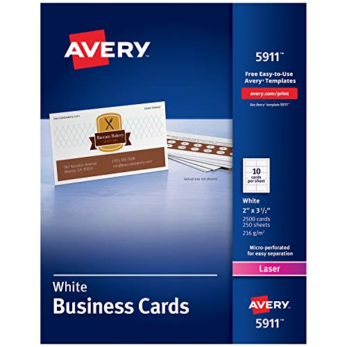 Avery Printable Business Cards, Laser Printers, 2,500 Cards, 2 x 3.5 (5911)