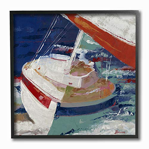- The Stupell Home Décor Collection Red White and Blue Sailboat Rocking in The Ocean Close Up Painting Framed Giclee Texturized Art, 12 x 12, Multi-Color