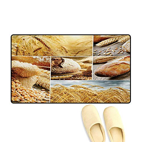 Bath Mat,Various Stages of Bread Making from Wheat to Final Product Collage Pattern,Customize Door Mats for Home Mat,Earth Yellow ()