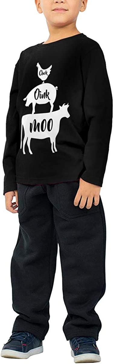 Little Girls Farm Anilmals Silhouette Chicken Pig Cow-1 ComfortSoft Long Sleeve T-Shirt