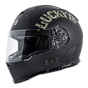 Torc T14B Blinc Loaded Bullhead Lucky 13 Mako Full Face Helmet (Flat Black, Large)