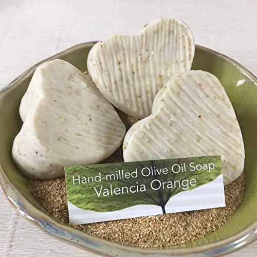 JANECKA Valencia Orange Soap, Artisan Hand-milled, Set of 3 Heart ()