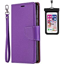 Huawei P20 LITE 2019 Flip Case, Cover for Huawei P20 LITE 2019 Leather Cell Phone Cover Extra-Durable Business Kickstand Card Holders with Free Waterproof-Bag