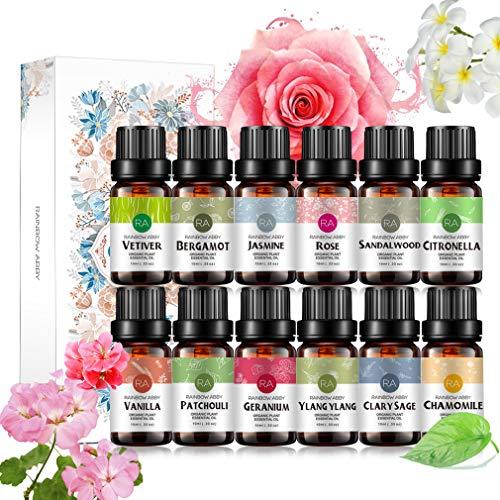 RAINBOW ABBY Top 12 Essential Oils Set (Rose,Vanilla,Sandalwood,Clary Sage,Patchouli,Geranium,Jasmine,Chamomile,Bergamot,Ylang-Ylang,Lemongrass,Vetiver)