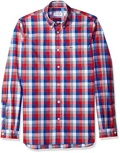 Lacoste Mens Long Sleeve Poplin Check Button Down Collar Reg Fit Woven Shirt, CH7281