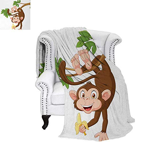 - Custom Design Cozy Flannel Blanket Funny Monkey Hanging from Tree and Holding Banana Jungle Animals Theme Print Weave Pattern Blanket 60