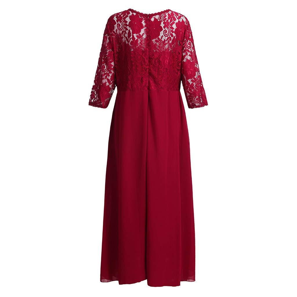 Women Bohemian Plus Size Sweetheart V-Neck Ankle-Length Solid Lace Panel Long Party Maxi Dress Chiffon Women Dress