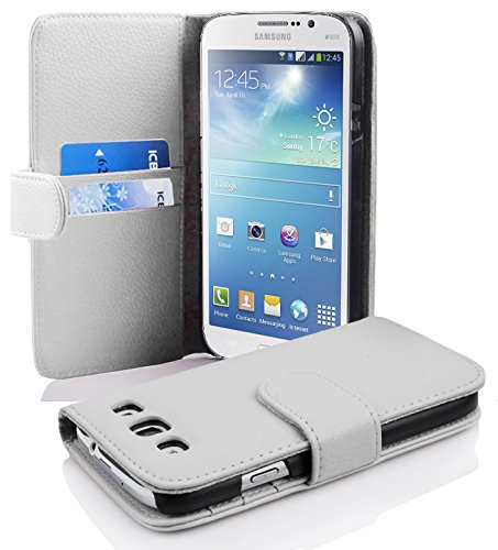 with Samsung Galaxy MEGA 5.8 in Snow White (Design Book Structure) – with 2 Card Slots – Wallet Case Etui Cover Pouch PU Leather Flip ()