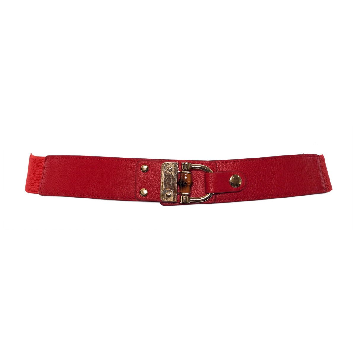 eVogues Plus Size Golden Metal Buckle Skinny Elastic Belt B20121124G_BRN-0001