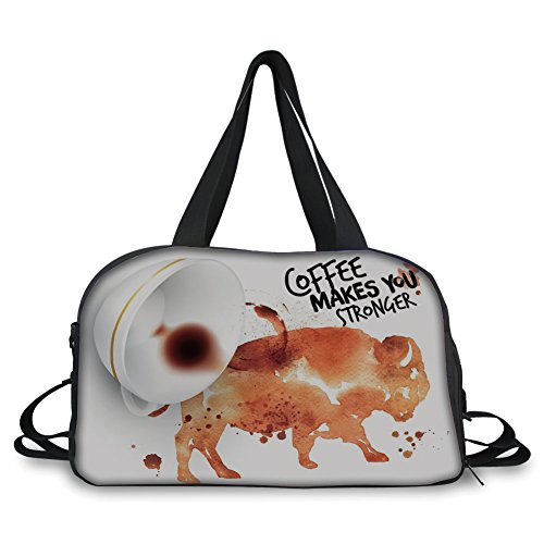 (iPrint Travel Handbag,Coffee Art,Conceptual Design with Inverted Americano Cup Strong Animal Bull,Burnt Sienna Black White ,Personalized)