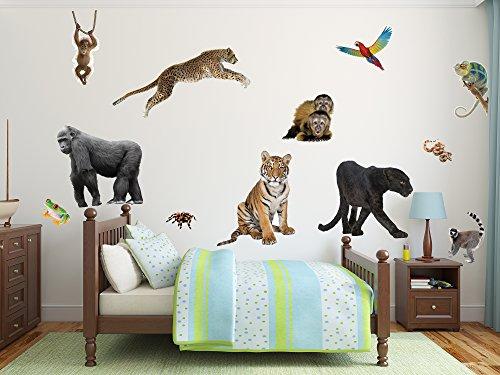 Wall Stickers Animals Jungle (Large 12 PC Jungle Animal Wall Set)