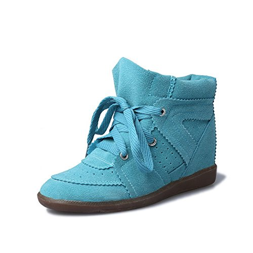 Allhqfashion Womens Frosted Ronde Dichte Teen Solide Enkelhoge Kitten-hakken Laarzen Acidbluelue