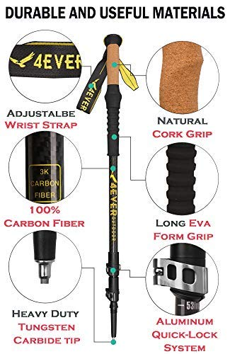 4EVER outdoor Trekking Poles – Best Collapsible Ultralight 3K Carbon Hiking Poles Walking Stick with Quick Lock, Cork, Tips, Bag and Accessories – Adjustable Lightweight Hiking Sticks 1 Pair 2 Pack