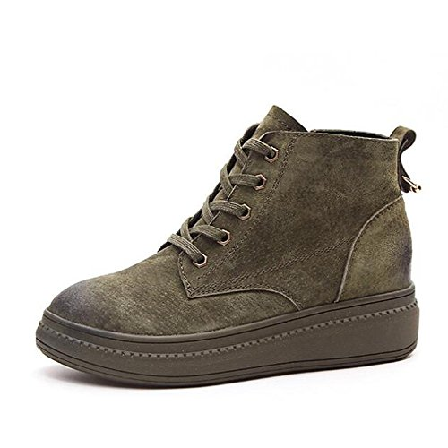 Shoes Boots Winter Comfort Heel Cowhide Combat Black Boots Low Army HSXZ Casual Ankle Green for Booties Army Fall Green Camel Boots ZHZNVX Women's 4xpqEw8Y